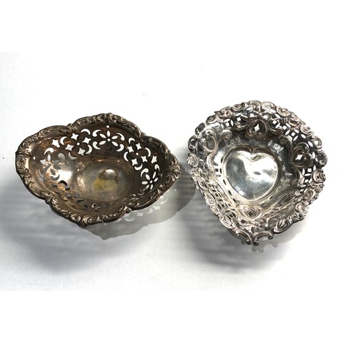 41 - 2 small silver sweet dishes weight 48g