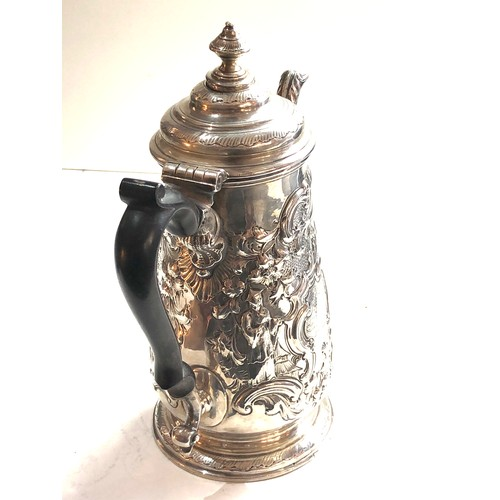 1 - Fine early 18th century Newcastle silver coffee pot maker GB embossed chinese figures with family cr...