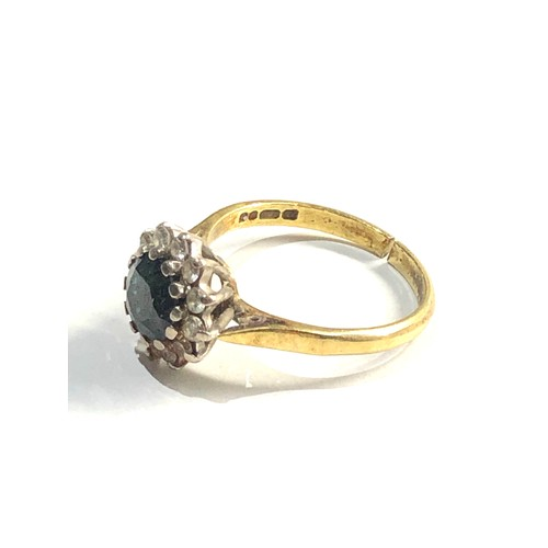 278 - 18ct gold sapphire & diamond halo ring, 4g split as shown