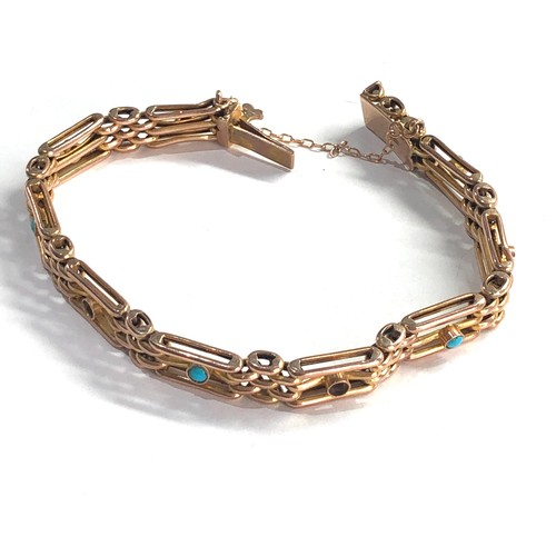 377 - 9ct gold antique turquoise fancy link bracelet missing 2 stones weight 11.5g