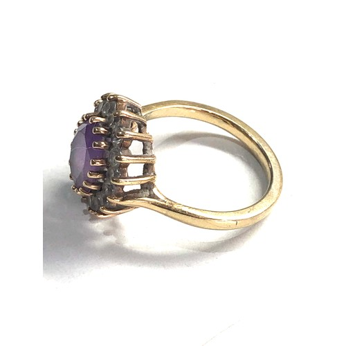 193 - 9ct Gold amethyst cluster ring 4.1g