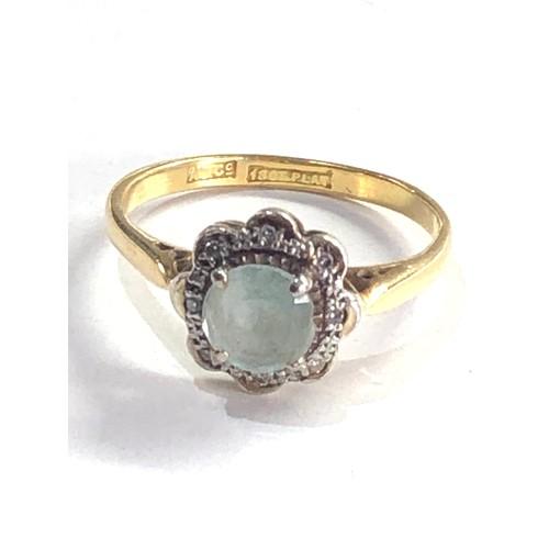 202 - Antique 18ct gold topaz & diamond halo set ring 3.2g