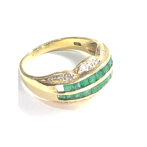 428 - 18ct gold emerald double row & diamond dress ring 4.2g missing stone