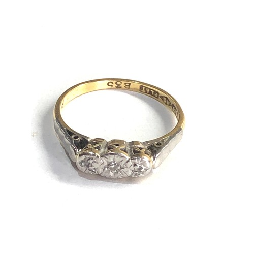 224 - Antique 18ct gold & platinum diamond trilogy ring 2.5g