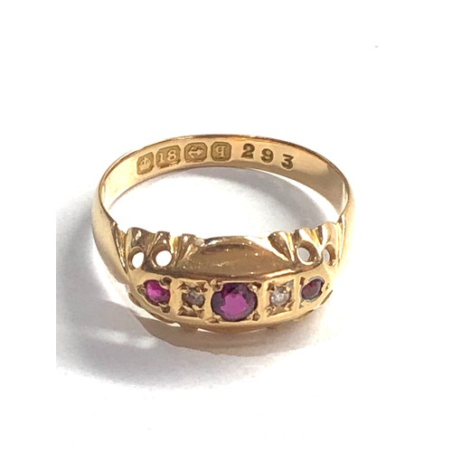 214 - 1915 hallmarked 18ct gold ruby & diamond gypsy style ring, diamond replacement 2.1g