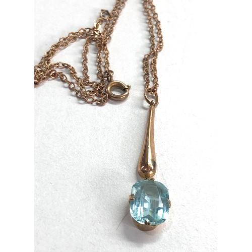 196 - 9ct Antique blue paste bar drop pendant & chain