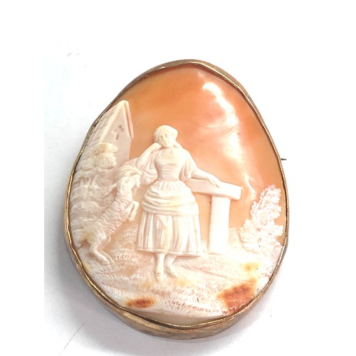 247 - Gold vintage shell cameo pendant / brooch weight 17.9g measures approx 5.5cm by 4.2cm