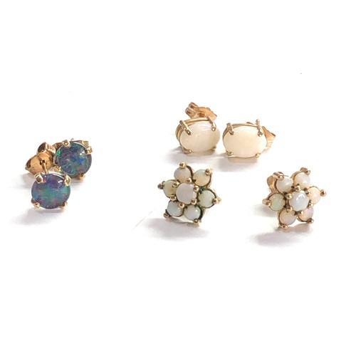 306 - 3 x 9ct gold opal earrings inc. studs, cluster