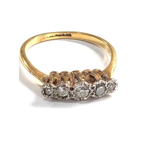 458 - Antique 18ct gold old cut diamond 5 stone set ring 2.4g