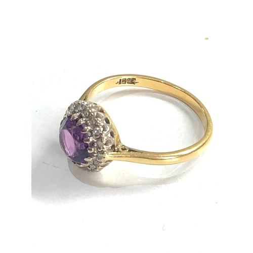 276 - 18ct gold amethyst & diamond halo set ring 3.5g