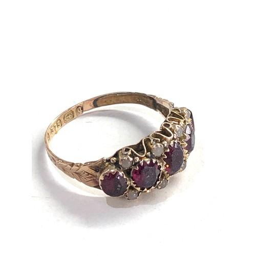 206 - 9ct Gold victorian stone set ring w/ Birmingham 1890