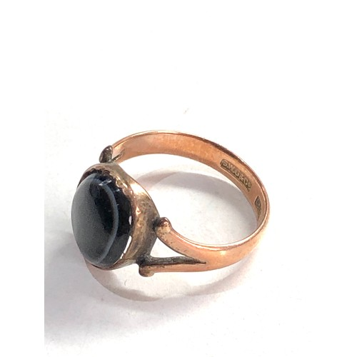 204 - Antique 9ct gold agate ring 2.7g