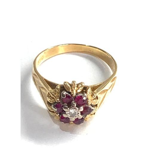 237 - Vintage 18ct gold ruby & diamond ring