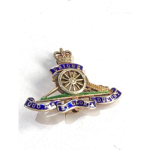 419 - 9ct Gold enamel military sweetheart brooch 3.7g