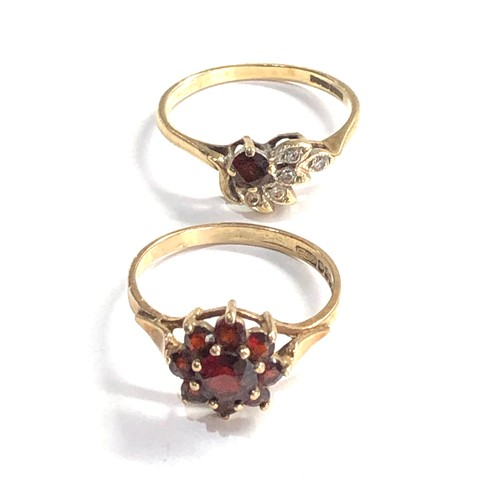 314 - 2 x 9ct gold garnet and gemstone cluster rings