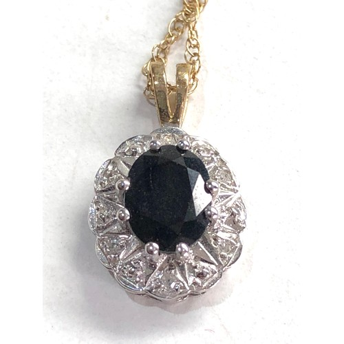 397 - 2 x 9ct gold sapphire and diamond pendant necklaces 5.2g