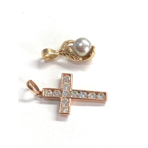 219 - 2 x 14ct gold diamond and pearl pendant and gemstone cross pendant 3.9g