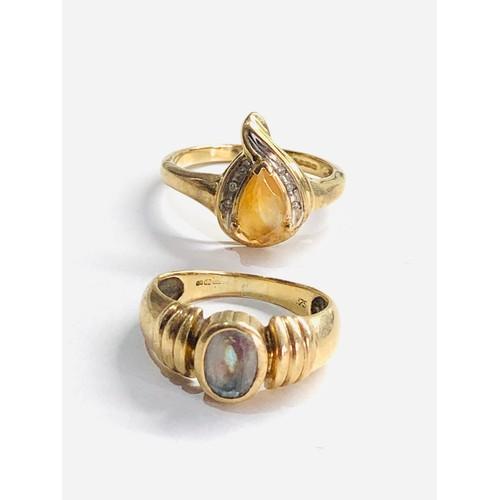 231 - 2 x 9ct rings inc. diamond set 5.9g