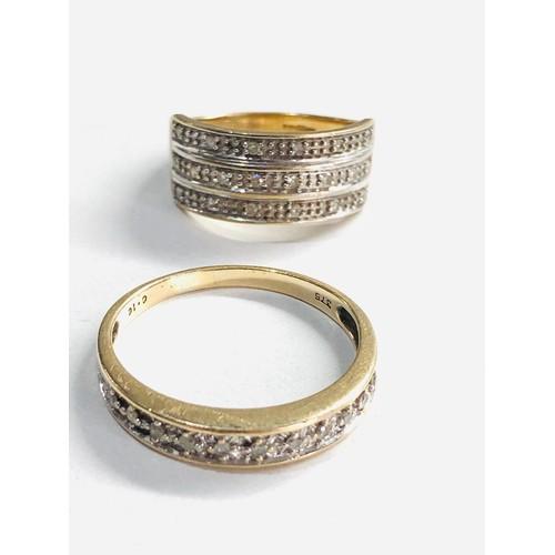 269 - 2 x 9ct gold diamond three row ring and half eternity ring 4.8g