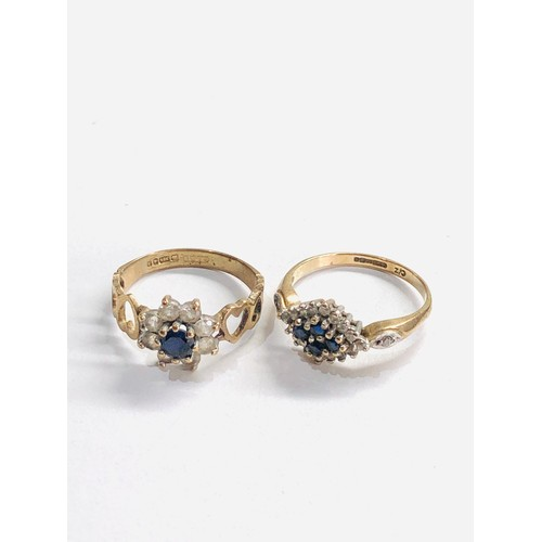 293 - 2 x 9ct gold cluster rings 4.2g