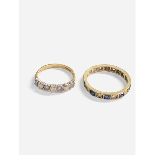 236 - 2 x 9ct gold gemstone full and half eternity rings