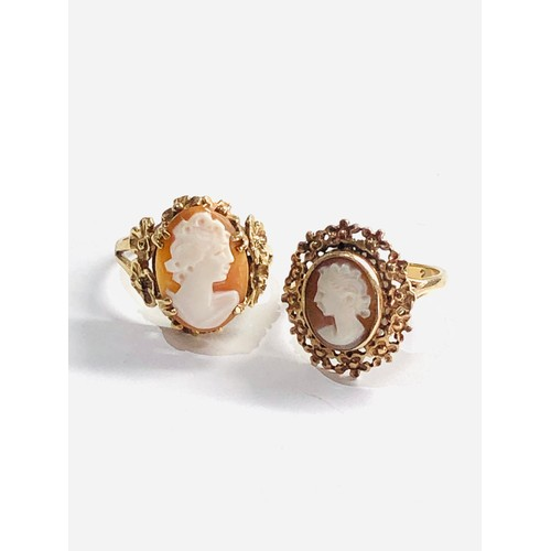 430 - 2 x 9ct gold vintage cameo floral framed rings 6g both ring size approx k