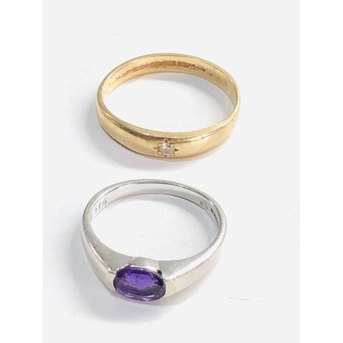 268 - 2 x 9ct gold diamond ring and white gold amethyst ring 4.8g