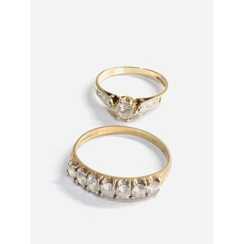 425 - 2 x 9ct gold rings inc  half eternity ring weight 3.6g