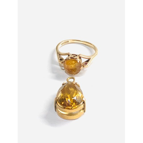 476 - 2 x 9ct gold vintage citrine ring and pear cut citrine pendant 5g
