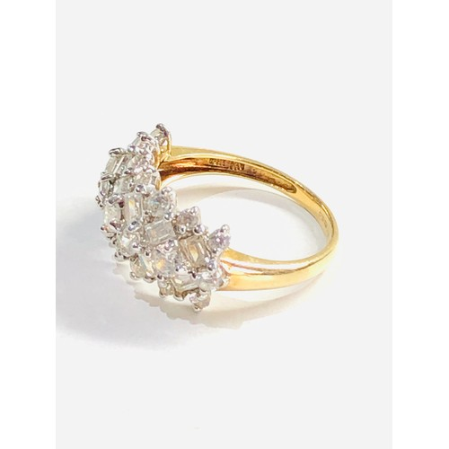 328 - 14ct mixed cut cz cluster ring 4g