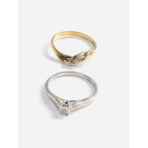 392 - 2 x 9ct Gold diamond rings 2.6g