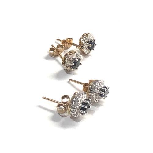 264 - 2 x 9ct diamond & sapphire stud earrings 2.7g