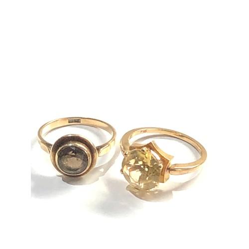 457 - 2 x 9ct Gold gemstone rings inc. smoky quartz, citrine 6.5g