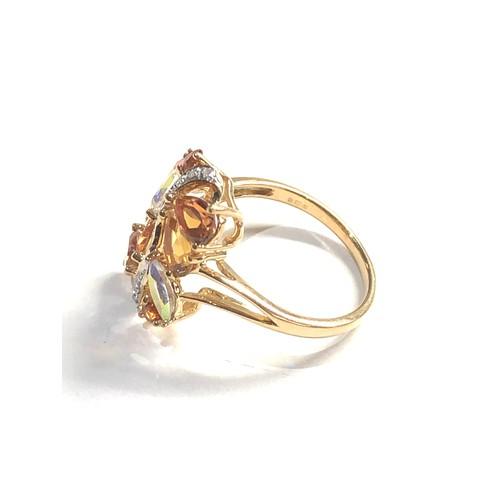 494 - vintage 9ct gold diamond set cocktail ring 3.3g