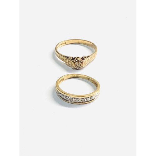 447 - 2 x 9ct gold diamond rings 3.3g