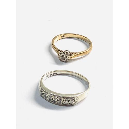 376 - 2 x 9ct diamond & sapphire rings 5.9g