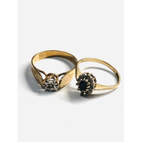 162 - 2 x 9ct Gold diamond detail rings 3.2g
