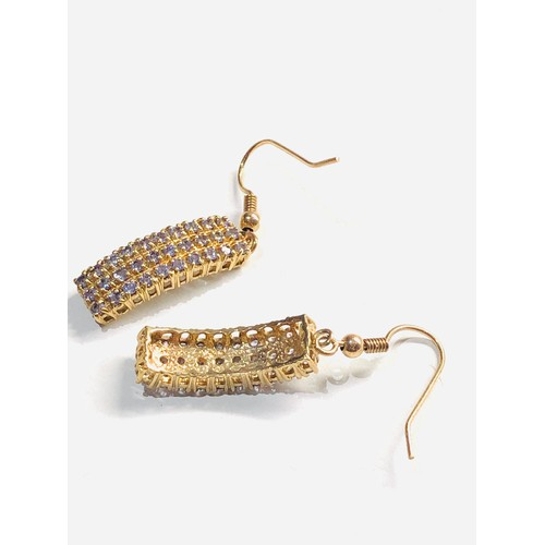 265 - 9ct Curved rectangular drop earrings 5.7g