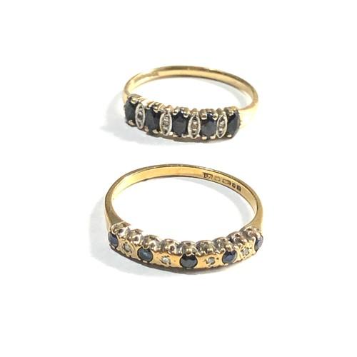 424 - 2 x 9ct Gold rings w/ diamond & sapphire