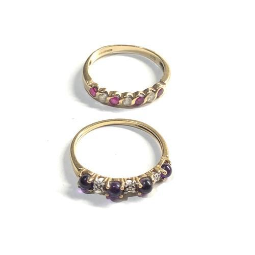 351 - 2 x 9ct Gold seven stone rings inc. ruby, amethyst, diamond 3.2g