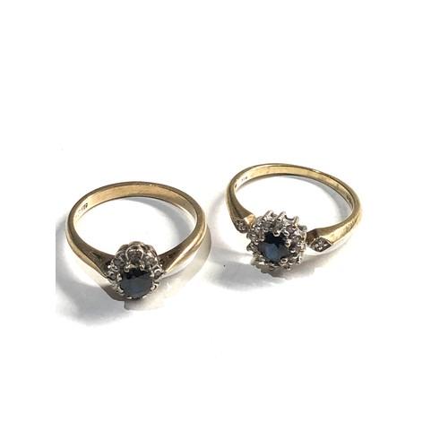 469 - 2 x 9ct Gold cluster rings inc. diamond, sapphire 4g
