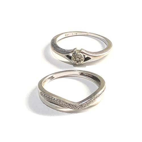 461 - 2 x 9ct white gold diamond set rings 3.1g