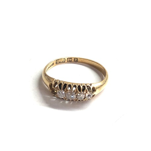 349 - 18ct Gold antique diamond ring missing end diamond 3.6g