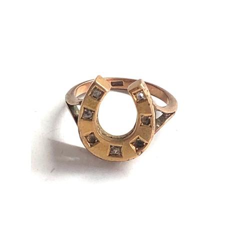 359 - Vintage 9ct Gold horseshoe ring w/ diamond *stones missing 3.7g