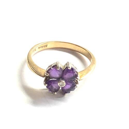 362 - 9ct gold amethyst & diamond ring weight 2.2g