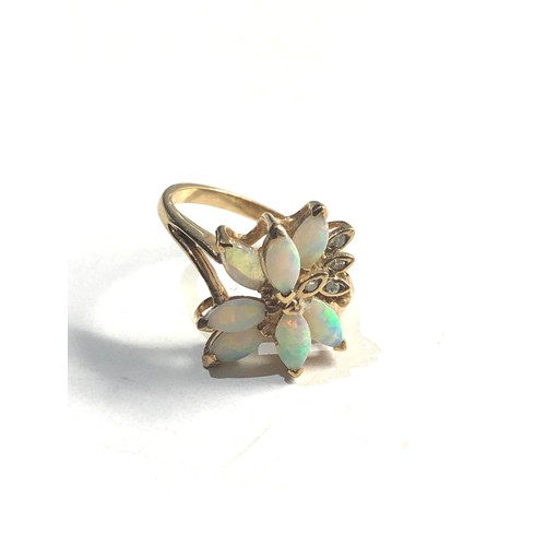 367 - 9ct Gold opal & diamond cluster ring 3.4g