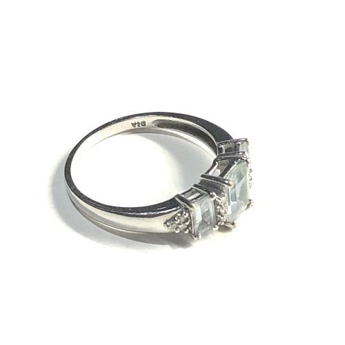 300 - 9ct White gold three stone  and diamond dress ring 2.5g