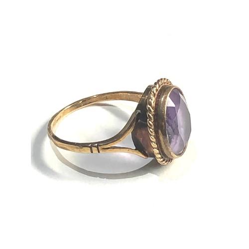 489 - Vintage 9ct gold amethyst ring 3.2g