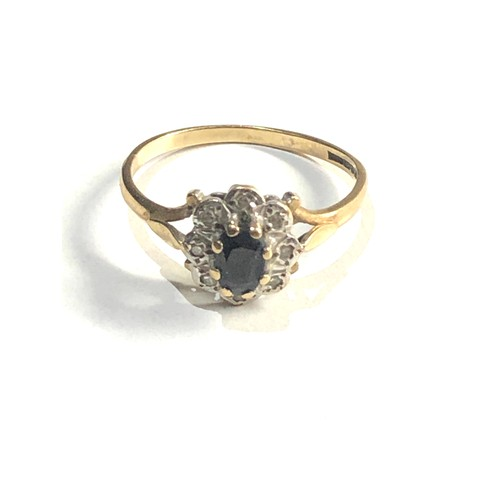 159 - 9ct Gold diamond & sapphire cluster ring