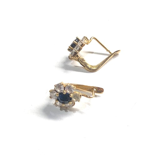 286 - 18ct gold sapphire stud earrings 3.5g